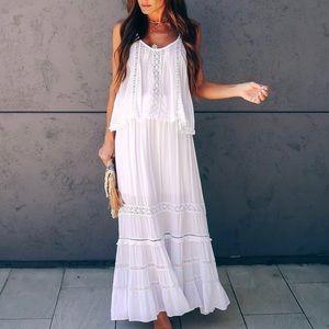 Vici Georgia Heat Crochet Lace Tiered Maxi Skirt